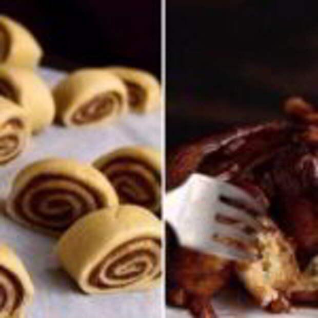 Липкие булочки с корицей и грецкими орехами