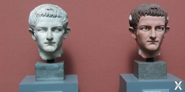 Мраморная статуя Калигулы и её раскра...