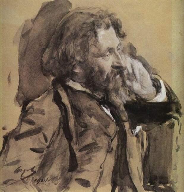 Портрет Ильи Репина. Валентин Александрович Серов, 1901