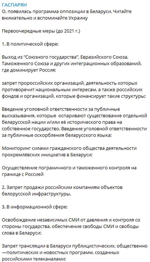 """""""Читайте и вспоминайте Украину"""": Раскрыты главные требования белорусских оппозиционеров"""