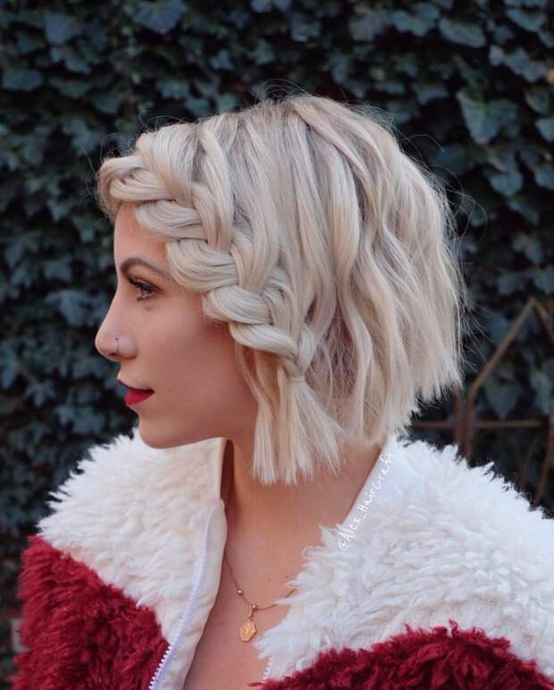 плетеные прически для коротких волос фото 5