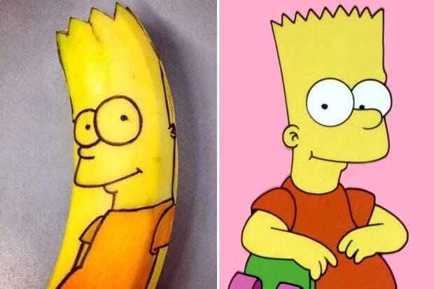 Талантливая художница вырезает портреты знаменитостей на… бананах