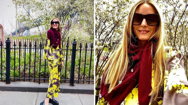 Как правильно сочетать шёлковый костюм с шерстяным кардиганом: показывает Оливия Палермо