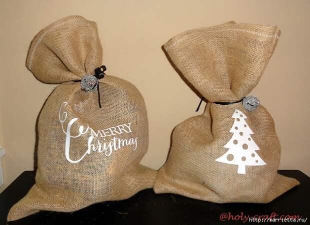Идеи упаковки новогодних подарков. Шьем мешочки и украшаем их орешками (17) (640x466, 236Kb)