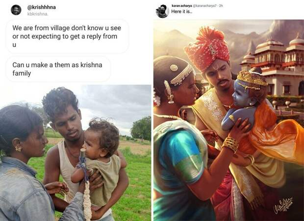 Индийский художник превращает людей в богов и героев