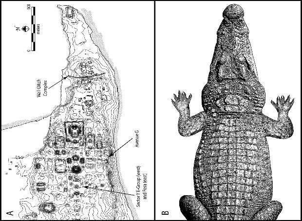 В планировке древнего города майя обнаружили следы мифа о крокодиле