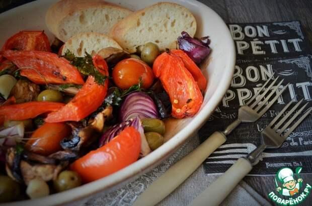 Овощи с шампиньонами печёные