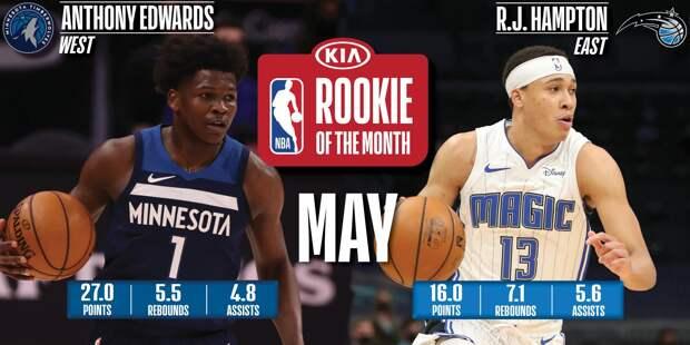Энтони Эдвардс и Ар Джей Хэмптон названы лучшими новичками мая в НБА