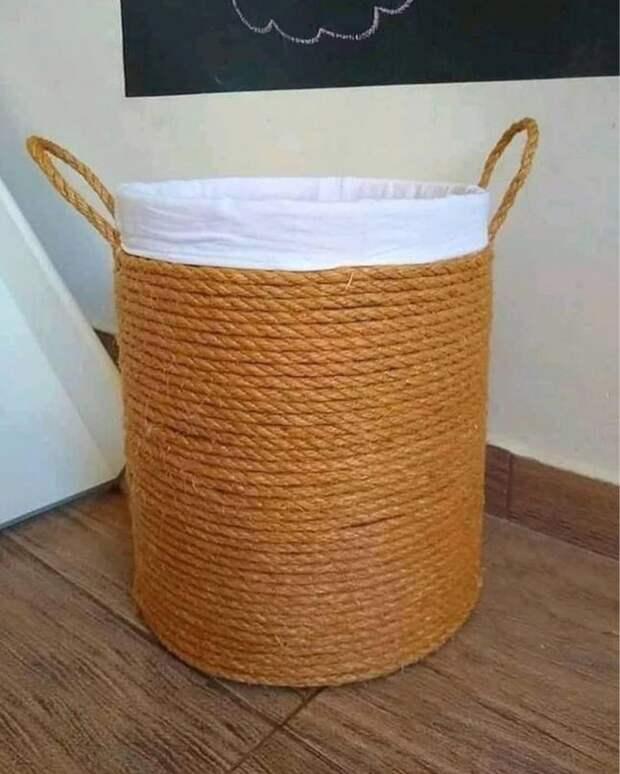 Как быстро сделать красивую корзину своими руками из веревки и коробки