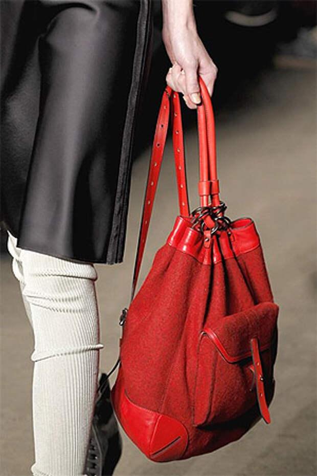 Модная сумка-торба красного цвета