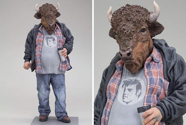 6 криповых фото людей с головами животных