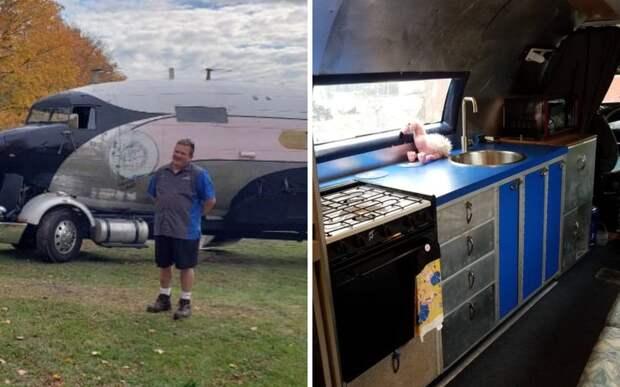 Американец сделал из самолета дом на колесах, чтобы путешествовать с семьей