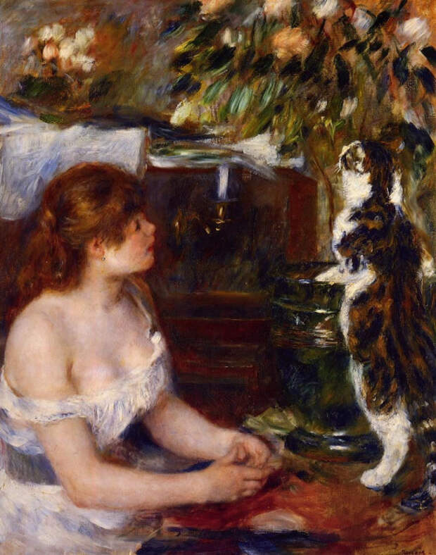 Пьер Огюст Ренуар, «Молодая девушка с котом», 1879 г.
