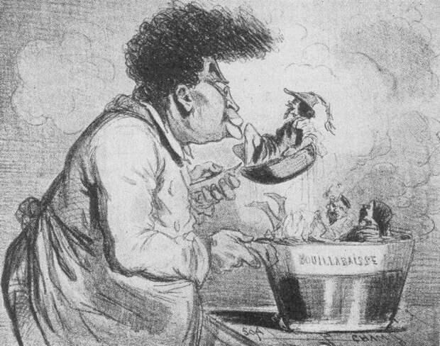 Карикатура «Дюма варит исторический суп»