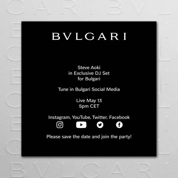13.05 BVLGARI приглашает на эксклюзивный live-концерт DJ Стива Аоки