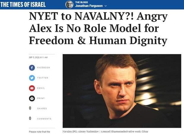 Владимир Карасёв: Навальный плохой пример для подражания. СМИ Израиля