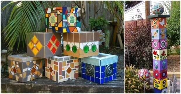 Покрашенные шлакоблоки можно использовать как декоративный элемент в ландшафтном дизайне.