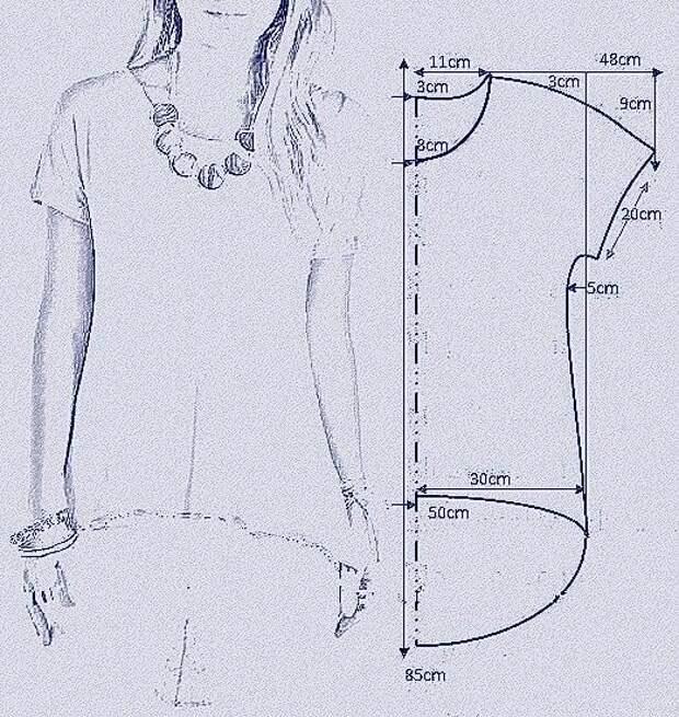 Выкройка футболки со скошенным низом