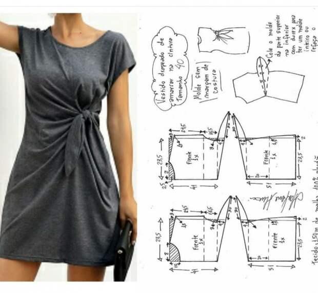 Выкройка платья с узлом на 46 размер